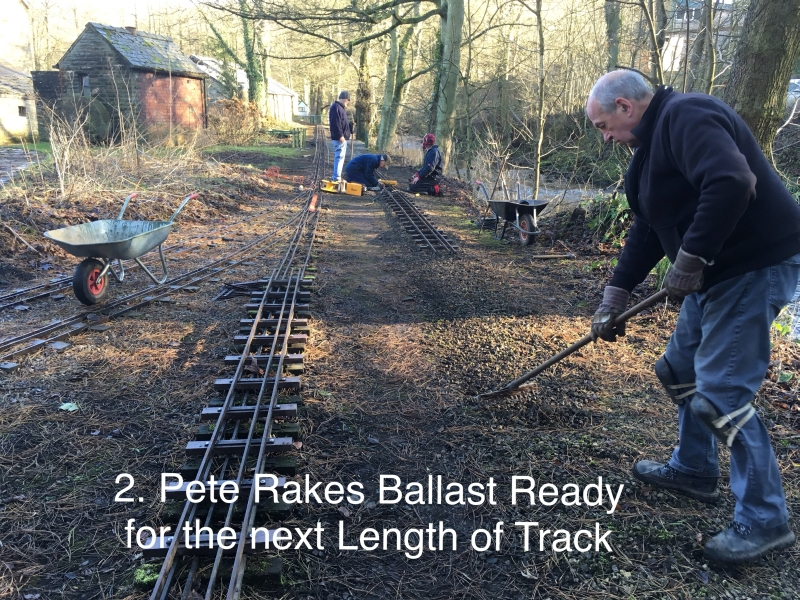 Pete Rakes Ballast Ready for the next length of Track.