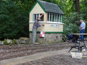 Keith works to rule at the signal box.