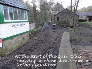 At the start of the 2016 track laying see how close we were to the signal box.